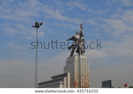 Moscow, Russia - June, 2014: worker and Kolkhoz woman
