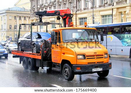 MOSCOW, RUSSIA - JUNE 3, 2012: ZIL 5301 Bychok tow truck at the city street.