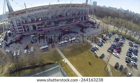 MOSCOW, RUSSIA - MAR 30, 2014: Aerial view of  Locomotive sports stadium. - stock photo