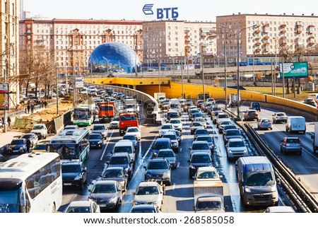 MOSCOW, RUSSIA - MARCH 27, 2015: above view Leningradskoye shosse in spring day. Leningrad highway - one of Moscow's busiest highway, connects the center of Moscow with Sheremetyevo Airport - stock photo