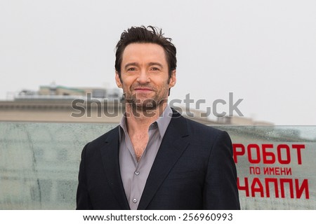 "MOSCOW, RUSSIA, MARCH, 01: Actor Hugh Jackman. Photo-call of the movie ""Chappie"", March, 01, 2015 at RITZ HOTEL in Moscow, Russia"