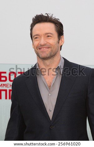 "MOSCOW, RUSSIA, MARCH, 01: Actor Hugh Jackman. Photo-call of the movie ""Chappie"", March, 01, 2015 at RITZ HOTEL in Moscow, Russia - stock photo"