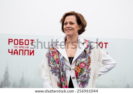 "MOSCOW, RUSSIA, MARCH, 01: Actress Sigourney Weaver. Photo-call of the movie ""Chappie"", March, 01, 2015 at RITZ HOTEL in Moscow, Russia - stock photo"