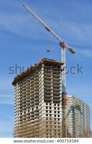 MOSCOW, RUSSIA - MARCH 28, 2016: Construction of new modern residential building in Moscow - stock photo