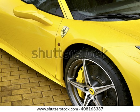 MOSCOW, RUSSIA -MARCH 18 , 2012; FERRARI 458 ITALIA SPORTS CAR IN THE STREET OF MOSCOW  ,MARCH 18, 2012