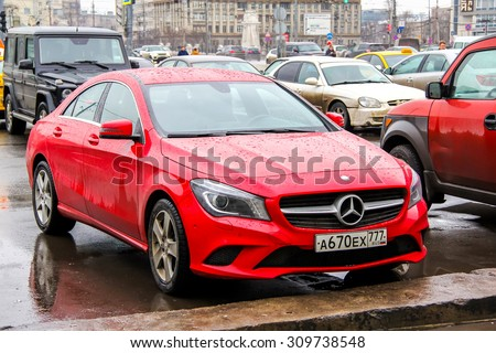 MOSCOW, RUSSIA - MARCH 8, 2015: Motor car Mercedes-Benz C117 CLA-class at the city street. - stock photo