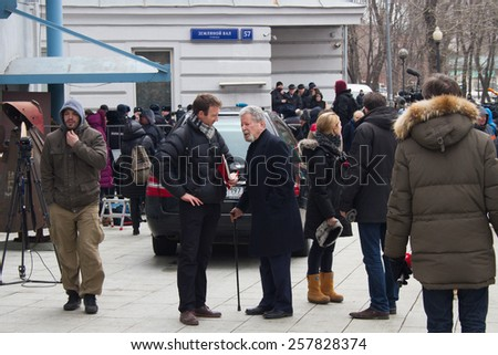 Moscow, Russia - March 3, 2015. Political scientist Alexander Kynev and lawyer Vadim Prokhorov at the funeral of Boris Nemtsov. Farewell to the oppositionist Nemtsov, who was killed near the Kremlin