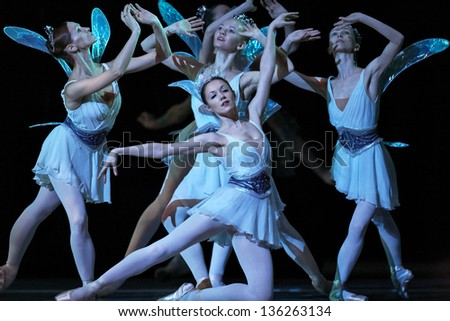 "MOSCOW, RUSSIA - MARCH 31: Show of Mariinsky theater ballet ""A Midsummer Night's Dream"" during Golden Mask contest. March 31, 2013 in Moscow, Russia - stock photo"