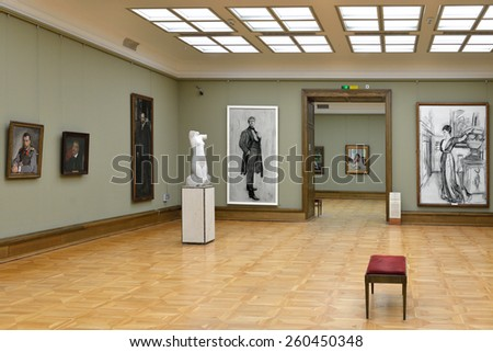 MOSCOW, RUSSIA - MARCH 13, 2015: State Tretyakov Gallery is art gallery, foremost depository of Russian fine art in world.Gallery's history starts in 1856. Hall of artist Serov V.