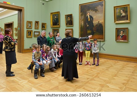 MOSCOW, RUSSIA - MARCH 13,2015:State Tretyakov Gallery is art gallery, foremost depository of Russian fine art in world. Gallery's history starts in 1856. Hall of Great Russian artist Borovikovskiy - stock photo