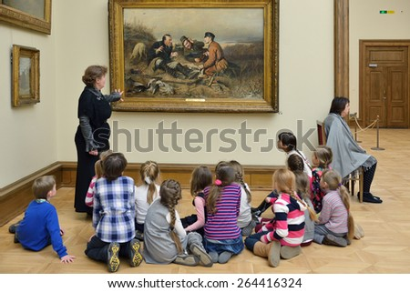 MOSCOW, RUSSIA - MARCH 13,2015:State Tretyakov Gallery is art gallery, foremost depository of Russian fine art in world. Gallery's history starts in 1856. Hall of Great Russian artist Perov - stock photo