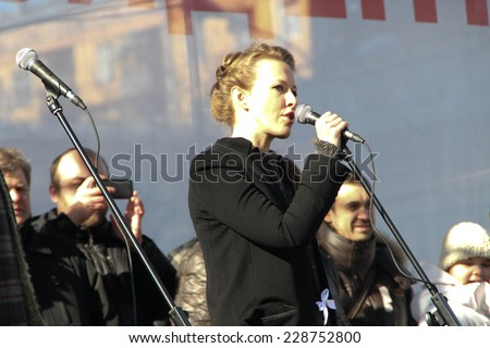 Moscow, Russia - March 10, 2012. TV Presenter Ksenia Sobchak on an opposition rally on election results - stock photo