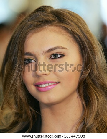 Moscow, Russia - may 21,2004 - Alina Kabaeva in Congress of Russian patriots, may 21,2004 in Moscow. - stock photo