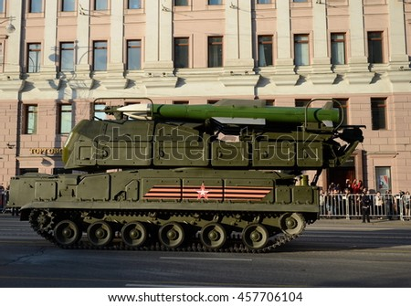 "MOSCOW, RUSSIA - MAY 05, 2016: Anti-aircraft complex ""Buk-M2"" at the evening rehearsal of parade in honor of the 71st anniversary of Victory in the great Patriotic war."