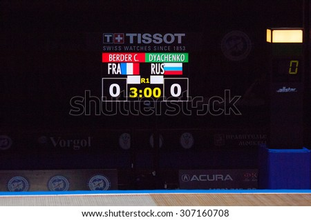 MOSCOW, RUSSIA - MAY 31 2015: C. Berger and E. Dyachenko score board on the World  fencing Grand Prix Moscow Saber in Luzhniki sport palace - stock photo