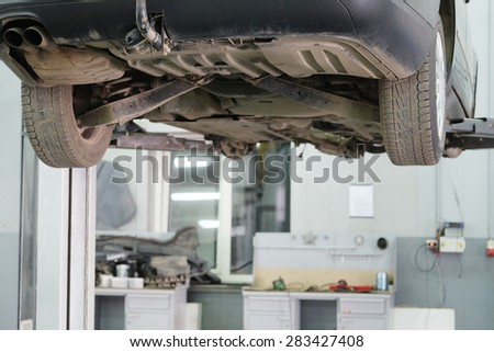 Moscow, Russia, May, 8, 2015: Cars in a dealer repair station in Moscow, Russia - stock photo
