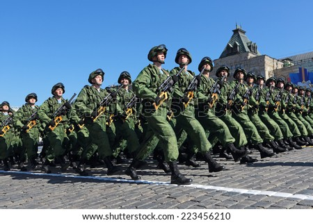 MOSCOW, RUSSIA - MAY 09, 2014: Celebration of the 69th anniversary of the Victory Day (WWII). Solemn marching of soldiers in Red Square. 16-th separate brigade of special purpose - stock photo