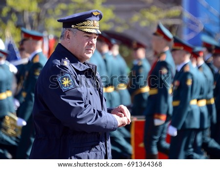 MOSCOW, RUSSIA - MAY 7, 2017:Colonel-General Viktor Bondarev, Commander-in-Chief of the Air and Space Forces of Russia.