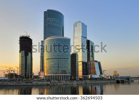 Moscow, Russia - May 21, 2012: Complex under construction Moscow-city (Moscow International Business Center) against the backdrop of the sunset sky