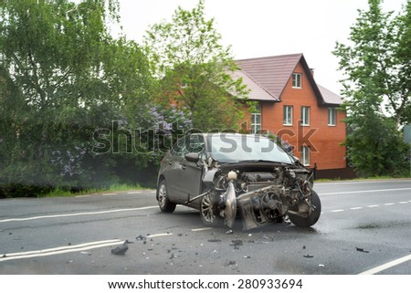 MOSCOW, RUSSIA - MAY 24, 2015: Damaged wrecked car in the city - stock photo