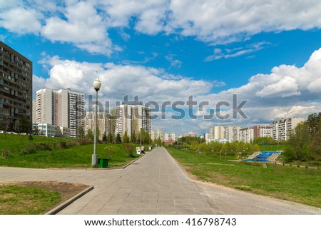 Moscow, Russia - May 06.2016. 16 districts of Zelenograd Administrative District