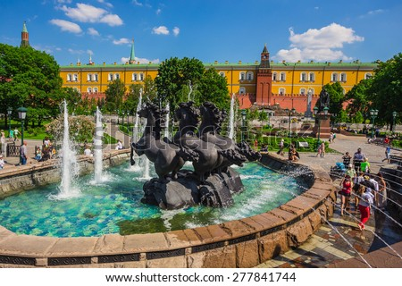 MOSCOW, RUSSIA - MAY 23: Fountain Four Seasons of the Year in Moscow, Russia on May, 23, 2014. This statue was made by Zurab Tsereteli on Manege Square in 1996 - stock photo