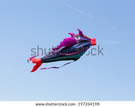 """MOSCOW, RUSSIA - MAY 31: Great fish-like kite at the """"Harlequin sky"""" kites festival on MAY 31, 2014 in Moscow, Russia.   - stock photo"""