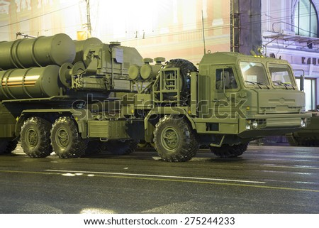 MOSCOW, RUSSIA - MAY, 05 2015: Intercontinental ballistic missile Topol-M. Rehearsal of military parade (at night), Moscow, Russia.Celebration of the 70th anniversary of the Victory Day(WWII)