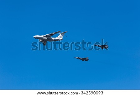 MOSCOW, RUSSIA - MAY 9, 2015: Military parade of 70th anniversaries of a victory day. Group of planes