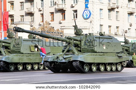 "MOSCOW, RUSSIA - MAY 6: Mobile self-propelled heavy artillery 2S19 ""Msta-S"" exhibited at the annual Victory day Parade dress rehearsal on May 6, 2012 in Moscow, Russia."