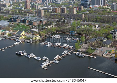 MOSCOW, RUSSIA - MAY 05, 2015: Moscow cityscape. Top view of the Khimki reservoir, Royal yacht club and Vodny Stadion Dinamo (Northern Administrative Okrug)
