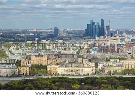 "MOSCOW, RUSSIA - MAY 05, 2015: Moscow cityscape. Top view on the Frunzenskaya embankment and Moscow International Business Center ""Moscow-City"""