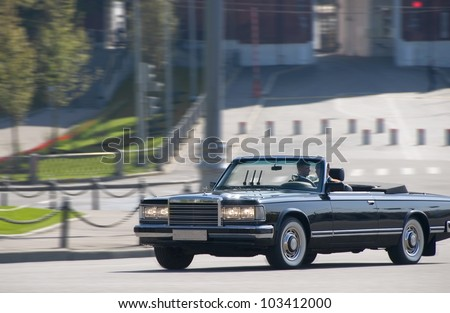 MOSCOW, RUSSIA - MAY 6: Open the ZIL-115V, in which Russia's defense minister May 9 receives an annual military parade on Victory Day during a rehearsal on May 6, 2012 in Moscow, Russia. - stock photo