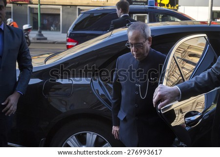 MOSCOW,RUSSIA - MAY 10: President of the Republic of India Pranab Mukherjee out of the car on Tverskaya street in Moscow on 10 of May 2015, Russia