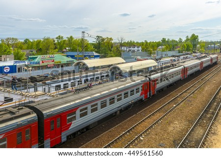MOSCOW, RUSSIA - MAY  14  2016 Railway station in Russia. Commercial and passenger trains