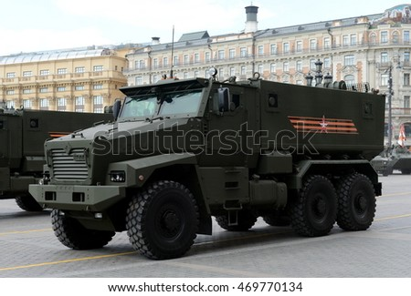 MOSCOW, RUSSIA - MAY 07, 2016: Rehearsal celebration of the 71th anniversary of the Victory Day (WWII).Mine-Resistant Ambush Protected (MRAP) armored vehicles Typhoon-U.
