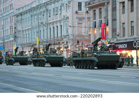 MOSCOW, RUSSIA - MAY 05, 2014: Rehearsal celebration of the Victory Day (WWII). Military equipment on Tverskaya street prepares to travel to the Red Square. 9M123 Khrizantema (AT-15 Springer)