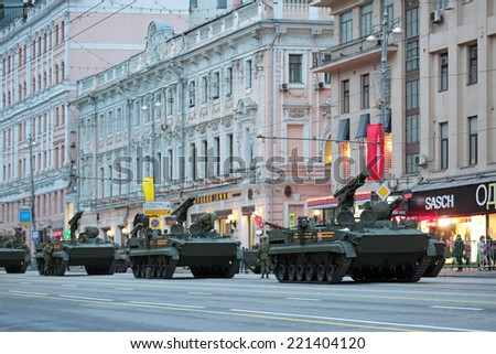 MOSCOW, RUSSIA - MAY 05, 2014: Rehearsal celebration of the Victory Day (WWII). Military equipment prepares to travel to the Red Square. 9M123 Khrizantema is a Russian supersonic anti-tank missile