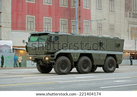 MOSCOW, RUSSIA - MAY 05, 2014: Rehearsal celebration of the Victory Day (WWII). Military equipment prepares to travel to the Red Square. The Mine Resistant Ambush Protected (MRAP) KAMAZ-63968 Typhoon