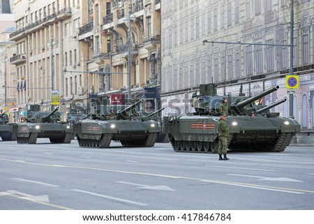 MOSCOW, RUSSIA - MAY 05, 2016: Rehearsal of the Victory parade in WWII. Military equipment on Tverskaya street. The T-14 Armata is a new main battle tank based on the Armata Universal Combat Platform