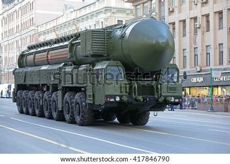 MOSCOW, RUSSIA - MAY 05, 2016: Rehearsal of the Victory parade in WWII. The RS-24 Yars (SS-27 Mod 2) is a Russian MIRV-equipped, thermonuclear weapon intercontinental ballistic missile - stock photo