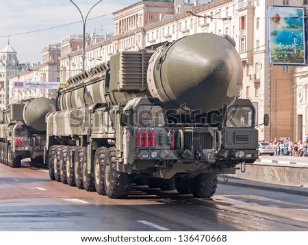 MOSCOW/RUSSIA - MAY 9: RT-2UTTKh Topol-M (SS-27 Sickle B) intercontinental ballistic missile on parade festivities devoted to 65th anniversary of Victory Day on May 9, 2010 in Moscow.