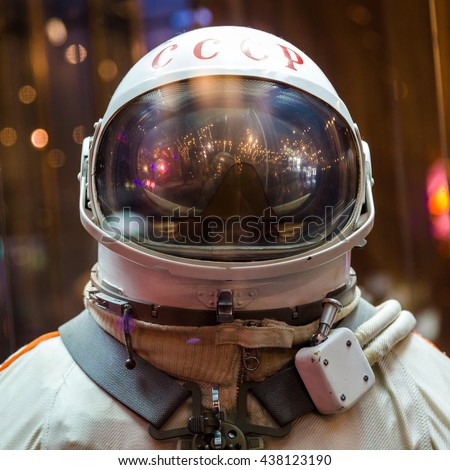 MOSCOW, RUSSIA - MAY 31, 2016: Russian astronaut spacesuit in Moscow space museum - stock photo