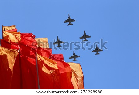 MOSCOW, RUSSIA - MAY, 07 2015: Russian military aircrafts fly in formation over Moscow during Victory Day parade, Russia. Celebration of the 70th anniversary of the Victory Day (WWII)