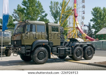 "MOSCOW, RUSSIA - may 20, 2014. Russian new truck ""Ural-6370"" at the exhibition ""Integrated safety and security-2014"", Moscow, VVZ"