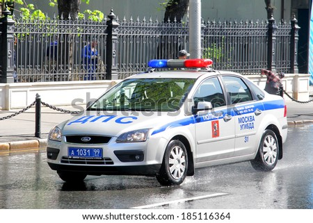 MOSCOW, RUSSIA - MAY 6, 2012: Russian police car Ford Focus at the city street. - stock photo