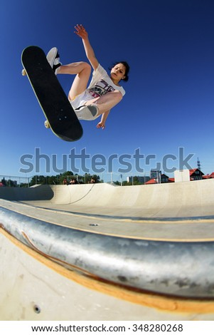 Moscow, Russia - May 30, 2009: Russian skateboarder Kate Shengeliya ride at the Novo-Peredelkino District, Mosccow, Russia.