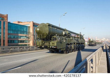 MOSCOW, RUSSIA - MAY 09, 2016:Russian thermonuclear weapon intercontinental ballistic missile Yars on parade festivities devoted to 71 anniversary of Victory Day on May 9, 2016 in Moscow.