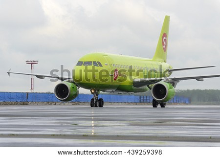 MOSCOW, RUSSIA - MAY 19, 2016: S7 airlines Airbus A319. Plane makes taxiing on taxiway Domodedovo International Airport. - stock photo