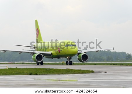MOSCOW, RUSSIA - MAY 19, 2016: S7 airlines Airbus A319 taxiing. Plane makes taxiing on taxiway Domodedovo International Airport. - stock photo